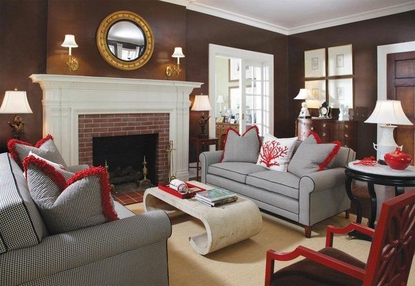 Brown Living Room Wall Color Gray Sofa Set Fireplace Mirror Wall Sconces  Red Accents Marble Coffee