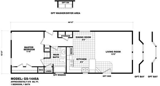 Gs 1446a Line Drawing Floor Plans Mobile Home Floor Plans House Floor Plans