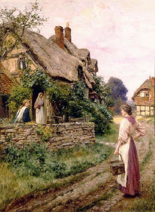 Henry John Yeend King ( British Painter ) 1855 1924  The peaceful village