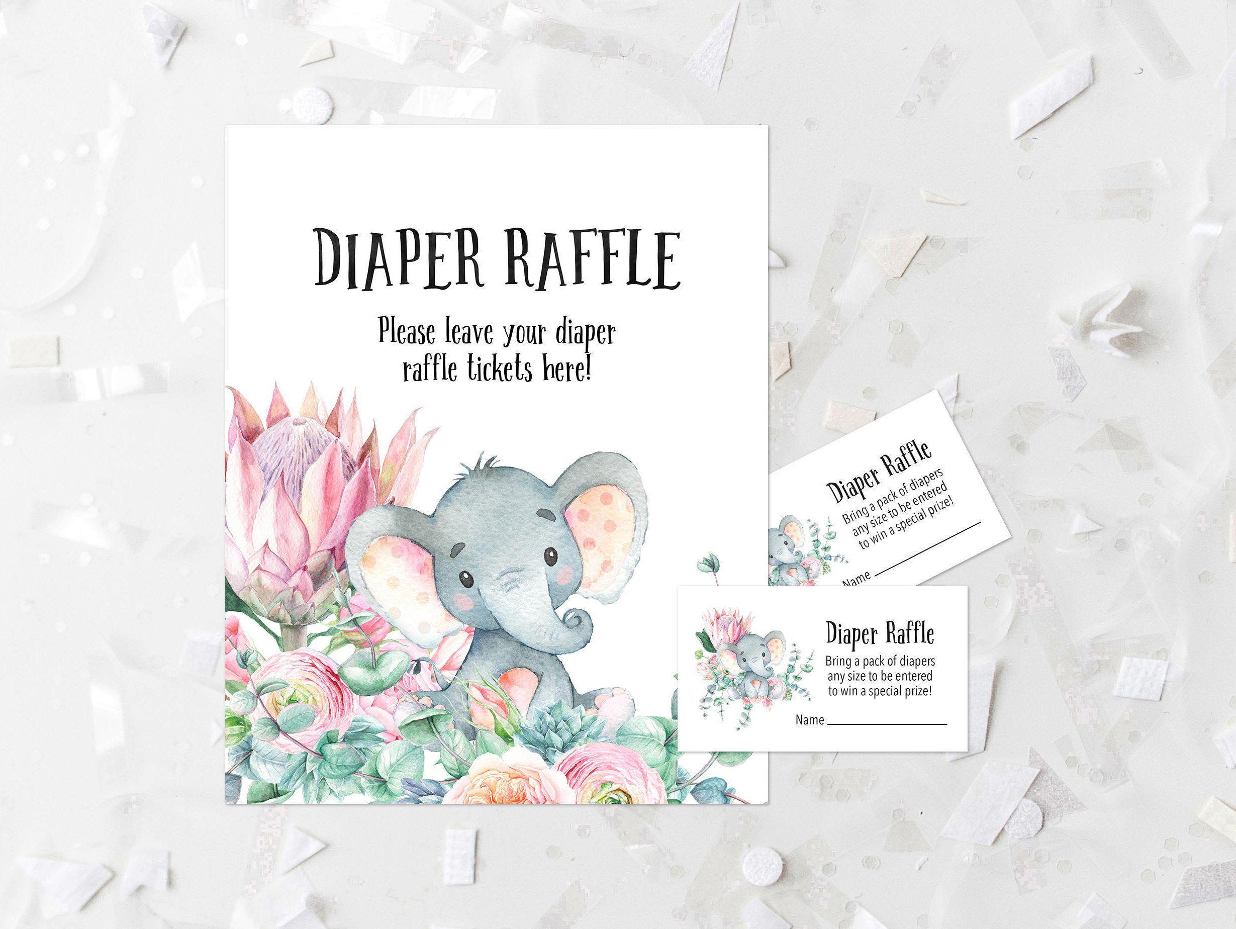 Floral Elephant Diaper Raffle Kit Printable Diaper Raffle Sign