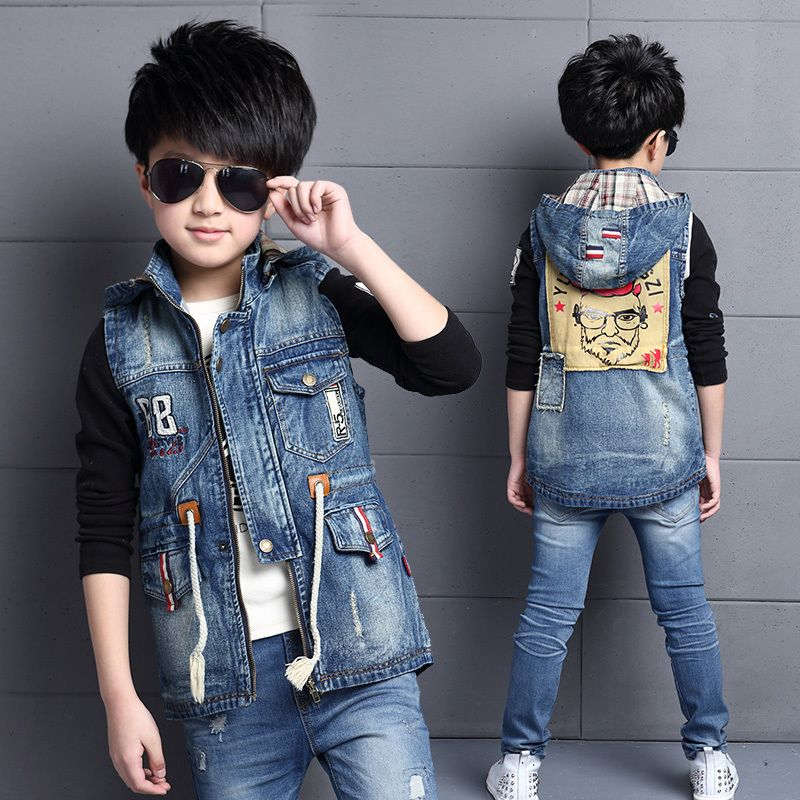 2ef32d3be Click to Buy    Fashion Boys Hooded Denim Jeans Vest Waistcoat ...