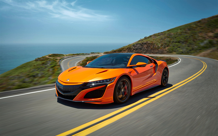 Download Wallpapers Acura Nsx 2019 4k Orange Sports Coupe New Orange Nsx Japanese Sports Cars Acura Auto Carros Camisas Masculinas