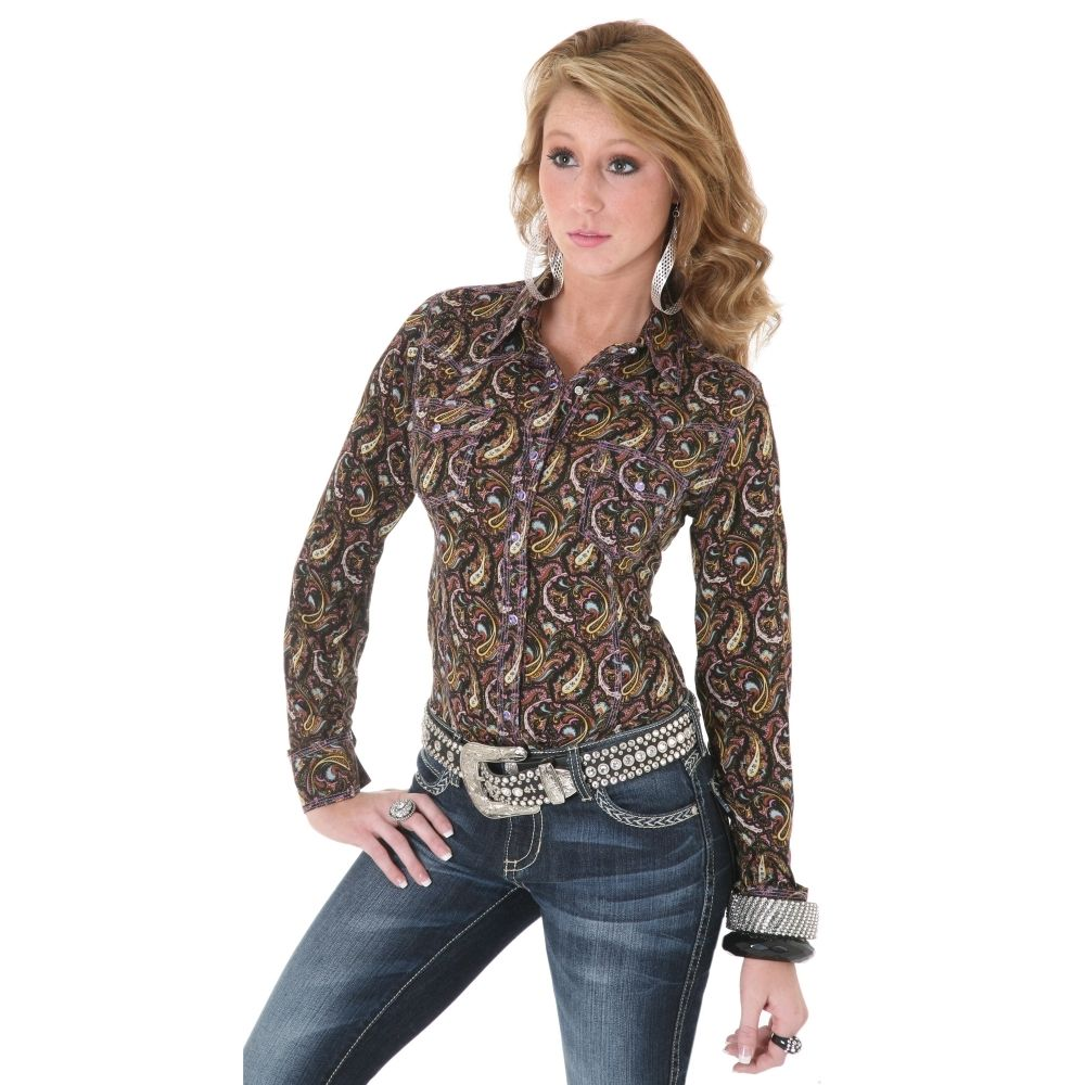 Country Western Clothing For Women Black Long Sleeve Paisley Shirt Countrygirl At Heart