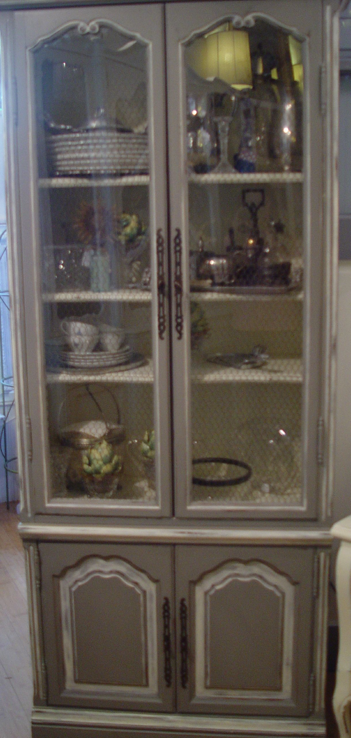 Tall Display Cabinet With Chicken Wire Glass Doors