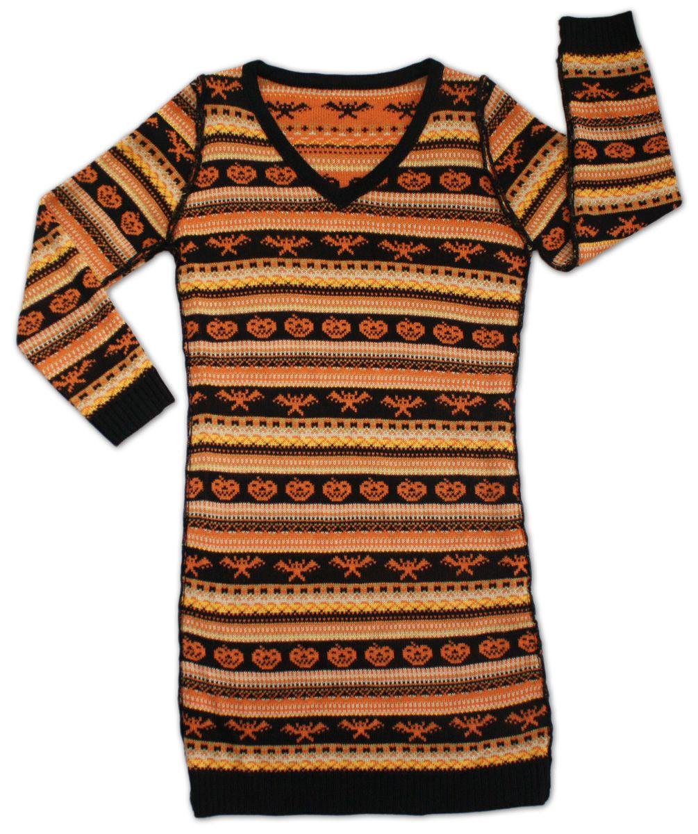 Women's Spooky Halloween Sweater Dress Festified