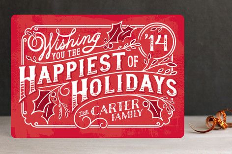 Happy Holly Days Holiday Non-Photo Cards by GeekInk Design at minted.com