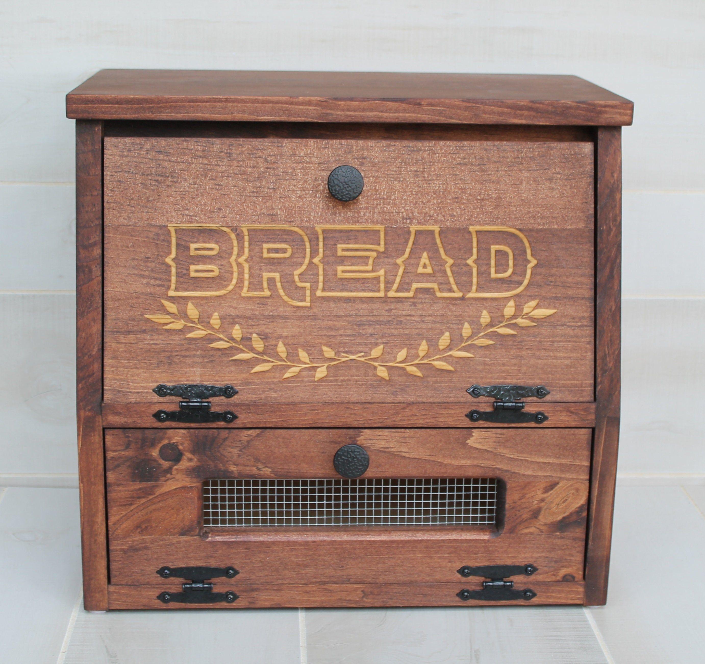 Rustic Bread Box Vegetable Bin Farmhouse wooden Engraved