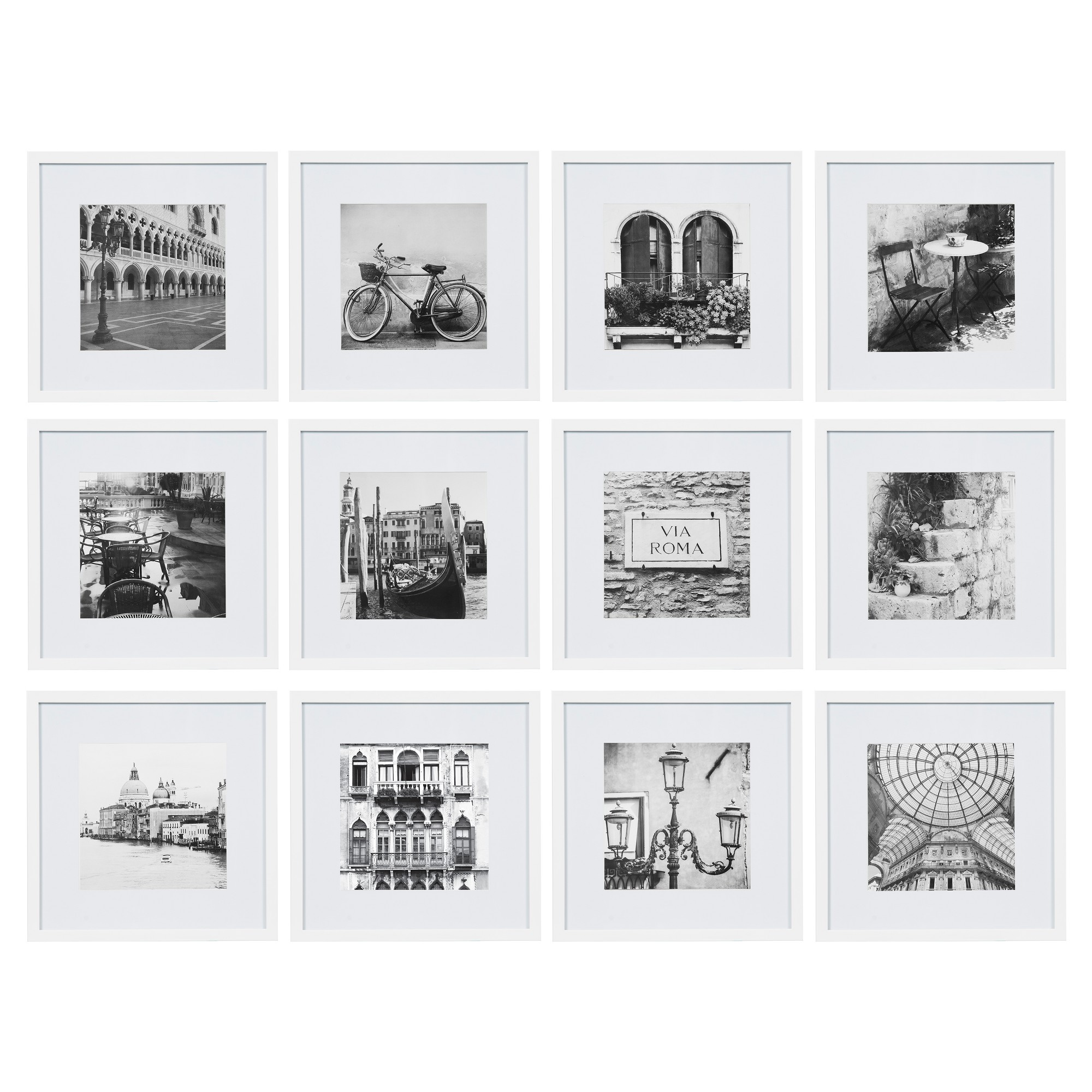 12pc 12 X 12 Matted To 8 X 8 Frame Set White Gallery Perfect Gallery Wall Frames Picture Frame Wall Photo Wall Gallery