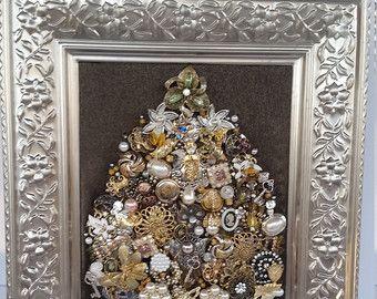 Framed Vintage Jewelry Christmas Tree Jewelry Tree Pinterest