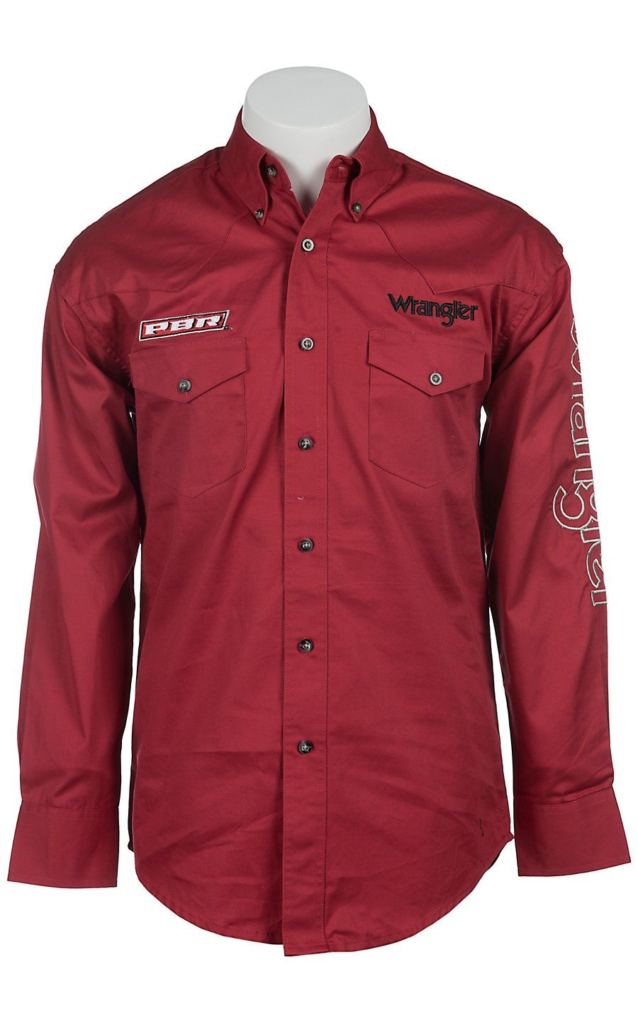 a5c7e404578 Wrangler® Red PBR Logo Long Sleeve Western Shirt MHS369R