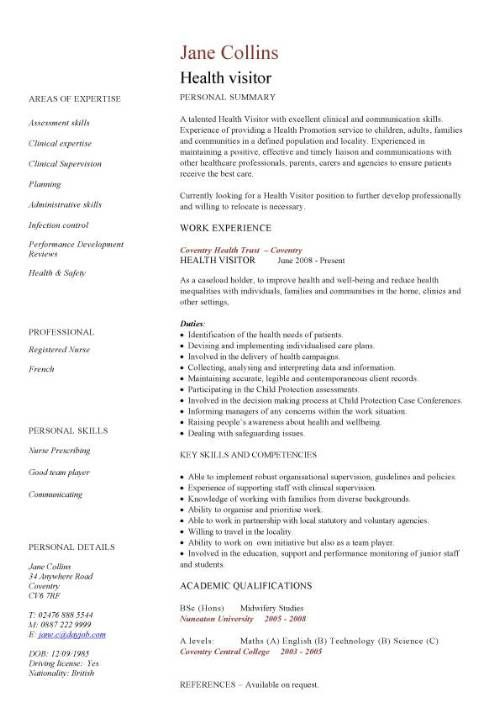 Example Resume Health Care Resume Templates  Care Assistant Cv Template Job