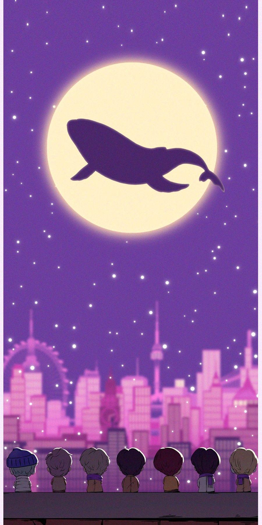 Whalien Tiny Tan Dream On Wallpaper In 2021 Bts Wallpaper Bts Drawings Wallpaper Bts purple whale wallpaper