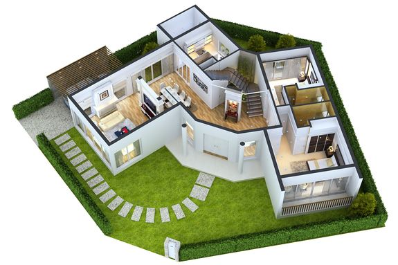 Green Modern 3D Home Floor Plans with Large Bedroom and ...