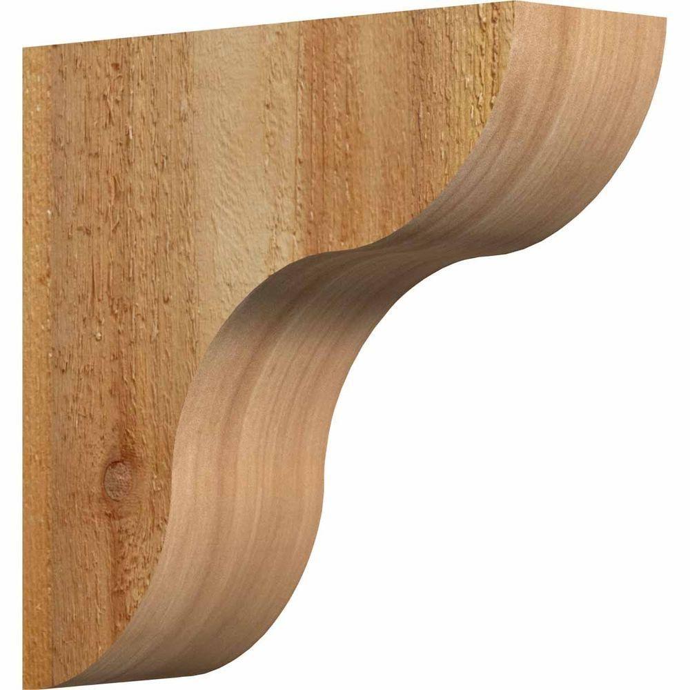 Ekena Millwork 4 in. x 12 in. x 12 in. Western Red Cedar Carmel Rough Sawn Corbel