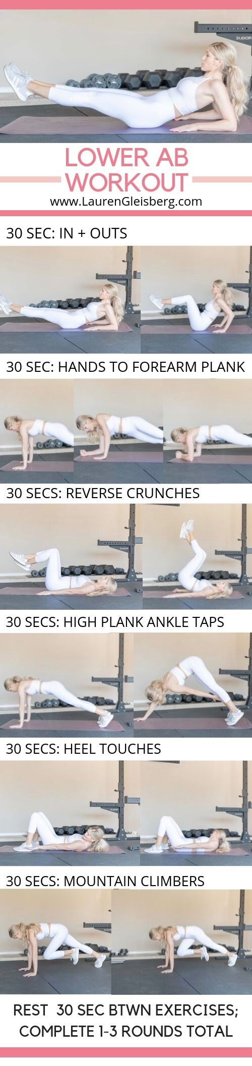 BEST LOWER AB WORKOUT THAT ONLY TAKES 6 MINUTES - Lauren Gleisberg
