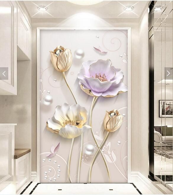 3d Floral Wall Mural Hallway Photo Wall Paper for Living Room papel