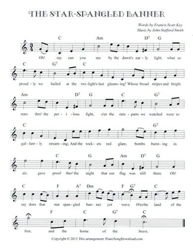 The Star Spangled Banner Free Lead Sheet Star Spangled Banner Song Star Spangled Banner Piano Sheet Music Free
