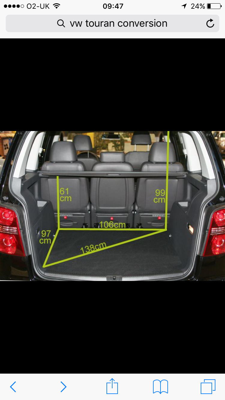 Vw Touran Boot Dimensions Vw Touran Day Van Pinterest