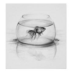 Goldfish in a bowl pencil art Poster print | Zazzle.com