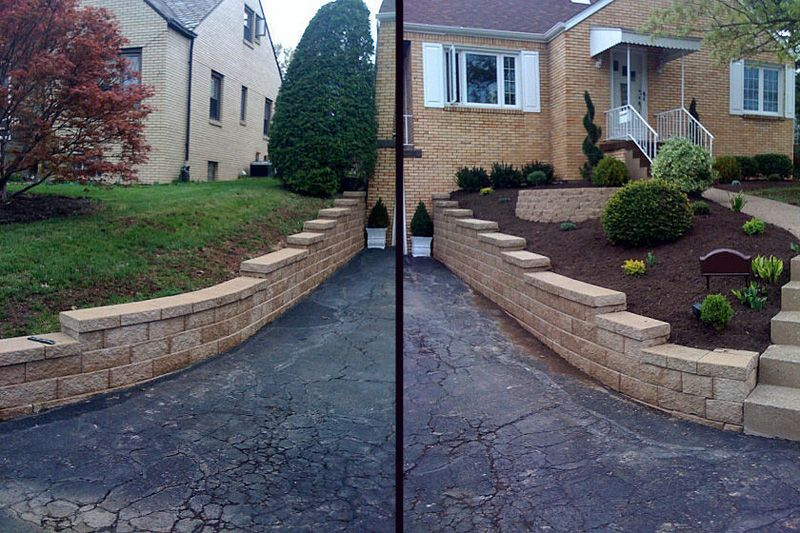 Retaining Walls Along Both Sides Of Driveway And A Retaining Wall