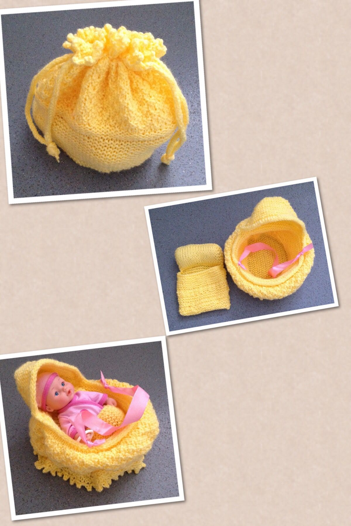 Doll bed in a bag, made using Frankie\'s Knitted Stuff (Cradle Purse ...