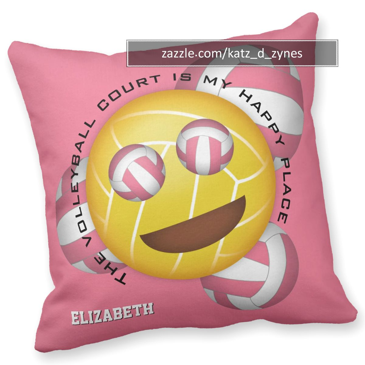 Volleyball Court Is Happy Place Smiling Emoji Throw Pillow Zazzle Com Throw Pillows Emoji Colorful Backgrounds