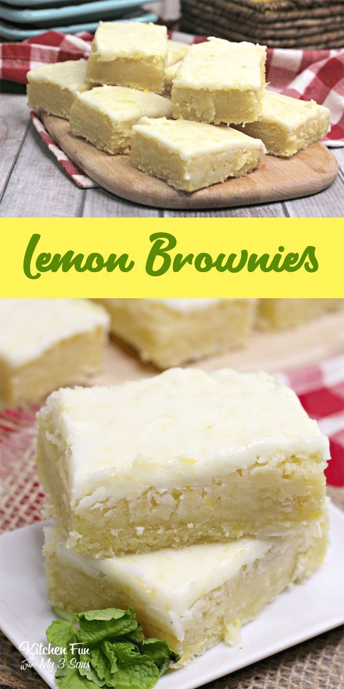 Lemon Brownies with Glaze - Kitchen Fun With My 3 Sons - Sweet Treats Lemon Brownies with Glaze - K