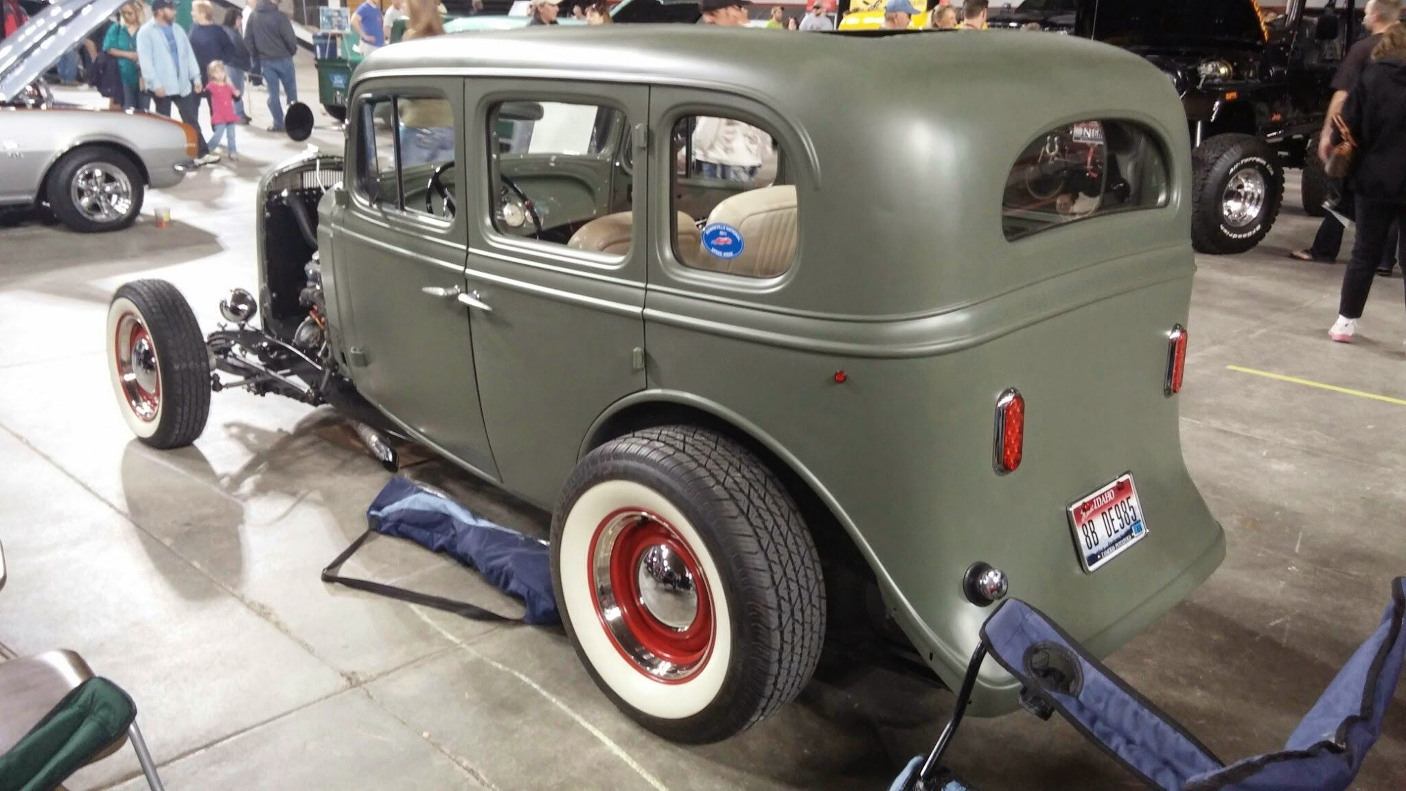 really fun little traditional hotrod in primer green gray and wide ...