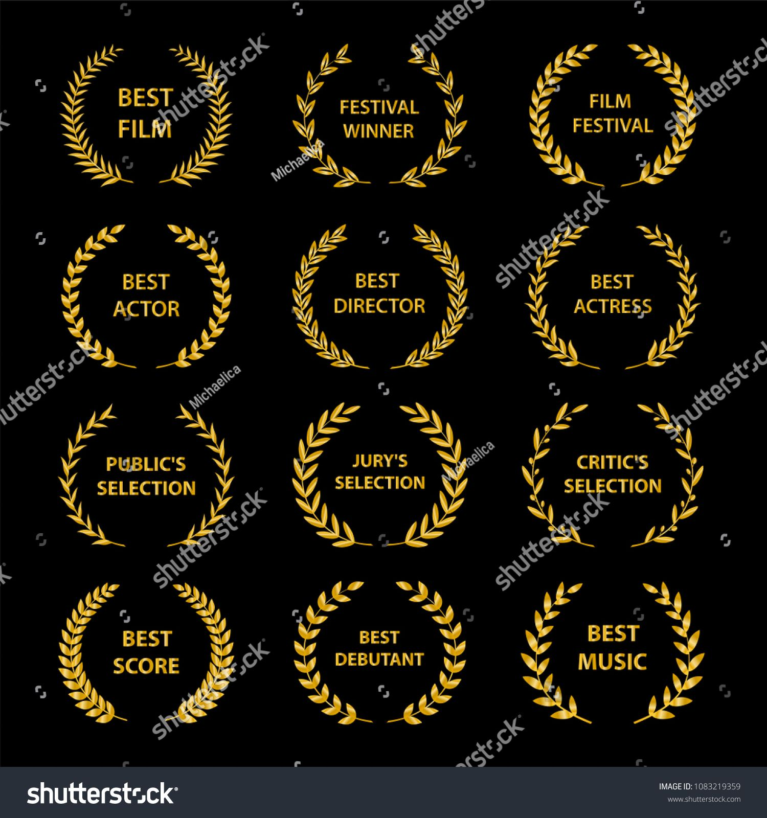 Film Awards Golden Award Wreaths On Black Background Vector Illustration Golden Award Film Awards Film Awards Film Good Music