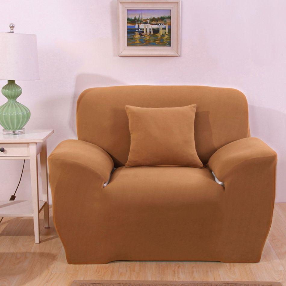23 46usd Light Tan Pure Color Universal Sofa Cover Elastic Stretch Single Double Three Four