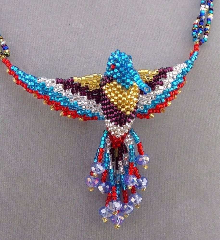 929db4bac Handmade Beaded Hummingbird Necklace Blue Gold Purple Crystal Red Jewelry  NEW #handmade #Beaded