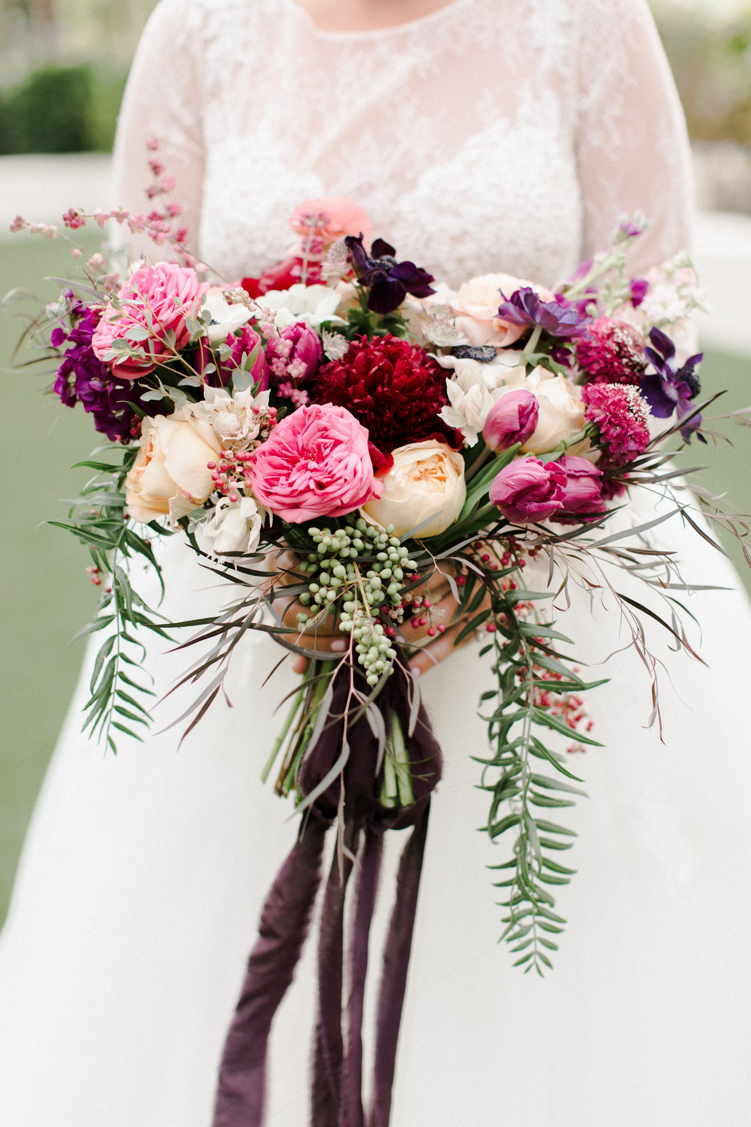 Anemones White Bridal Bouquet Blush Pink and Garden Roses Mauve and Ivory Artificial Flower and Faux Greenery Wedding Bouquets Protea
