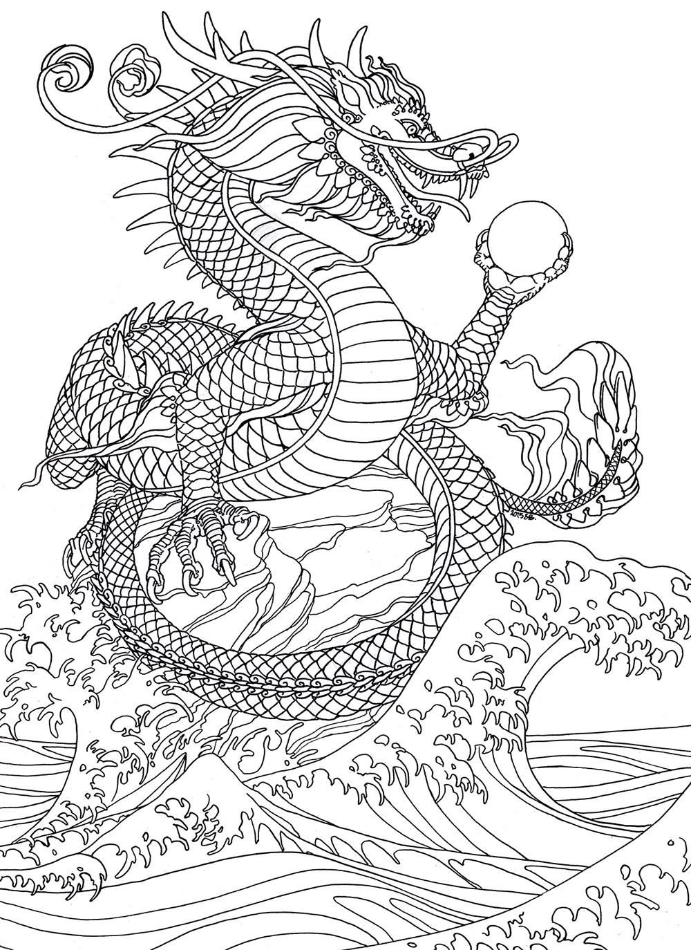 Las Tintas Chinas De Agua Dragon Deberia Haber Terminado La Coloracion De Este Por Este Fin De Semana Water Dragon Dragon Coloring Page Chinese Water Dragon