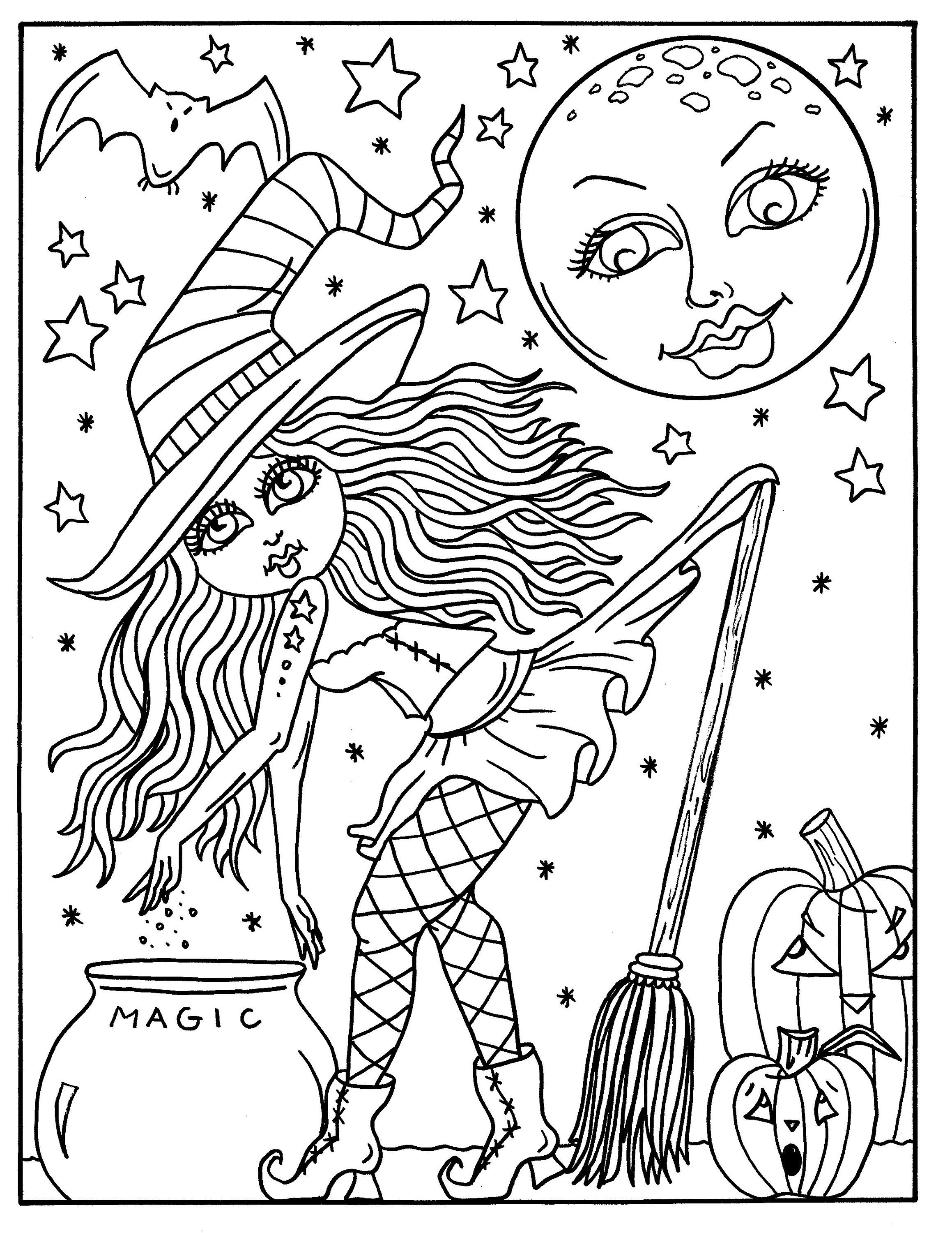 Hocus Pocus Witches Printable Coloring Pages For Adults Halloween Fun Halloween Witch Whimsical Coloring Book Halloween Coloring Book Halloween Coloring Book Witch Coloring Pages Halloween Coloring