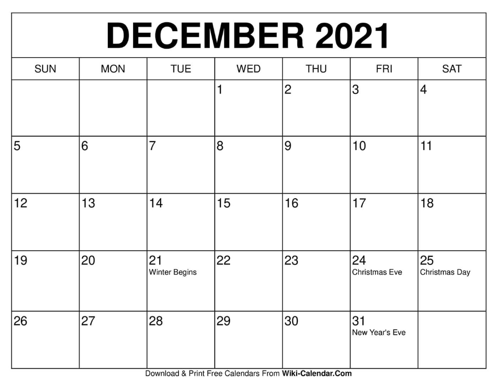December 2021 Calendar In 2020 2020 Calendar Template Free Calendars To Print Calendar
