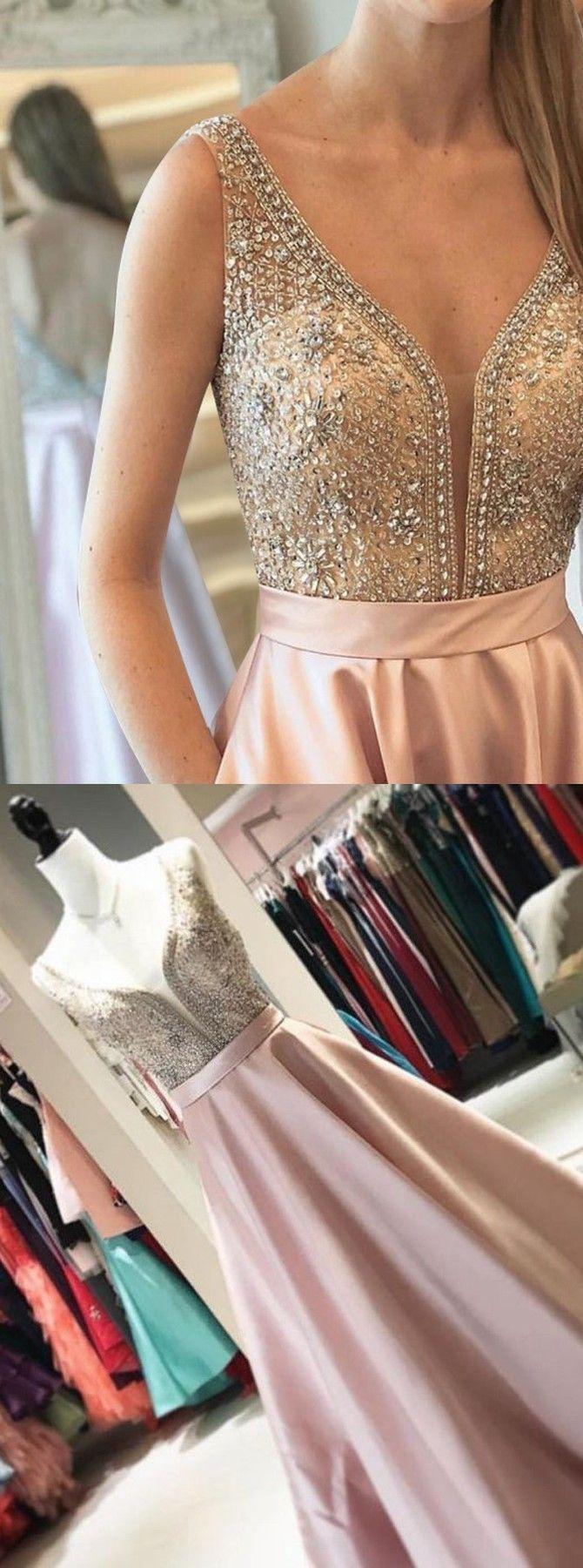 Aline vneck backless champagne satin prom dress with pockets