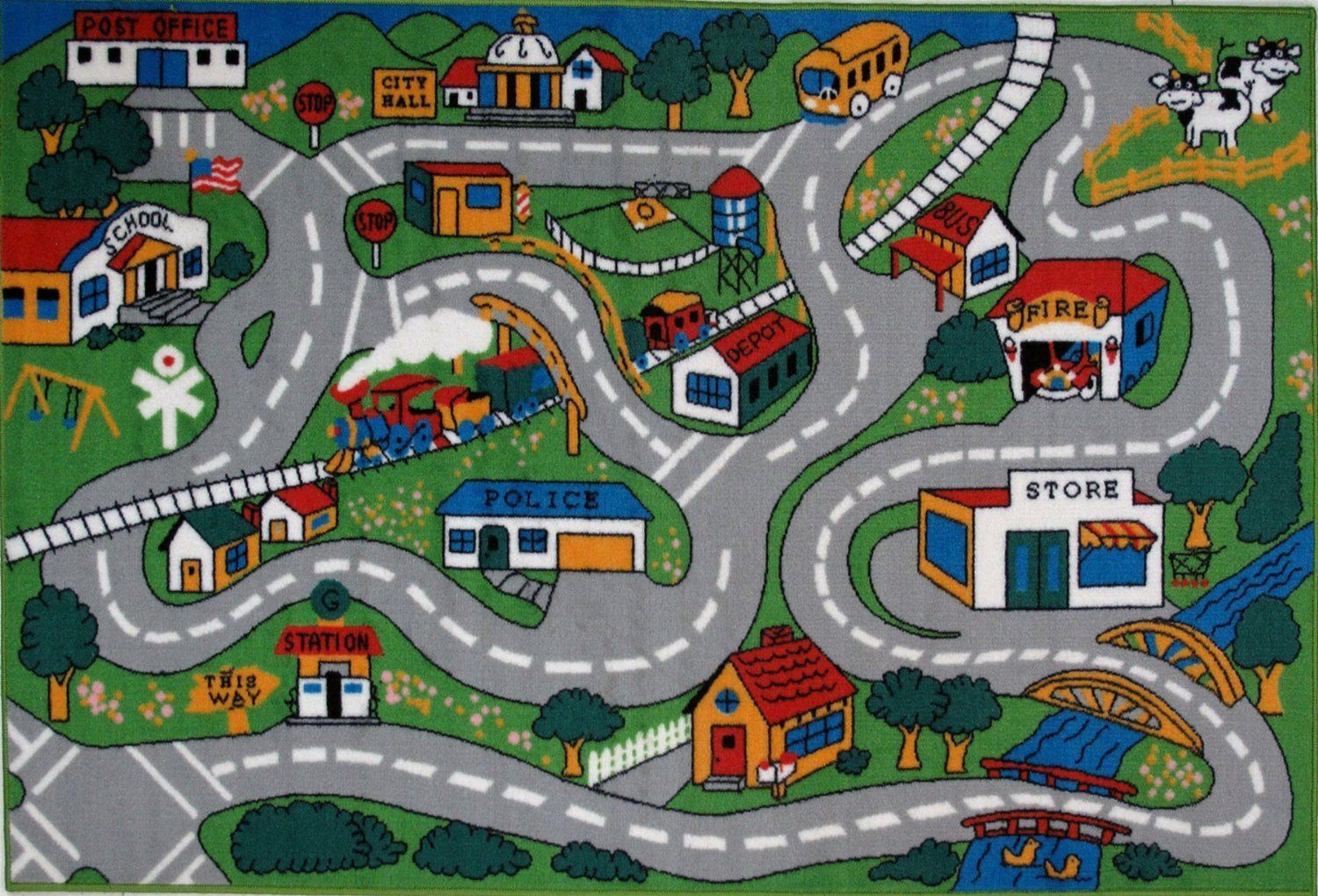 Com Fun Rugs Time Collection Home Kids Room Decorative Floor Area Rug