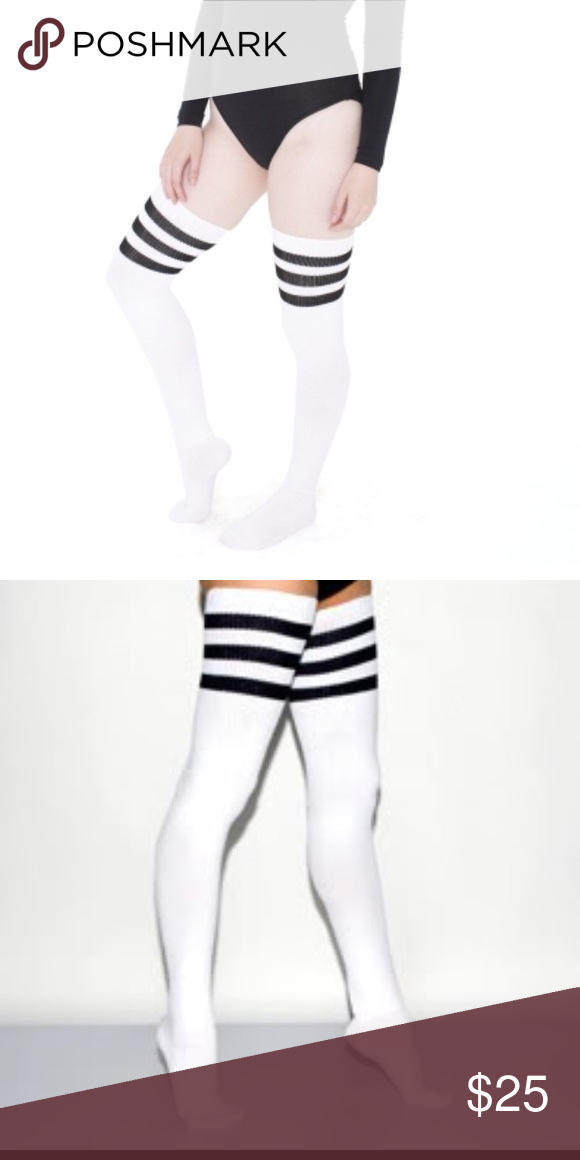 b69f298b8a0 AMERICAN APPAREL THIGH HIGH SOCK BUNDLE 3 PAIR Awesome thigh high pack of American  Apparel socks. All white with black stripes. One pair worn once