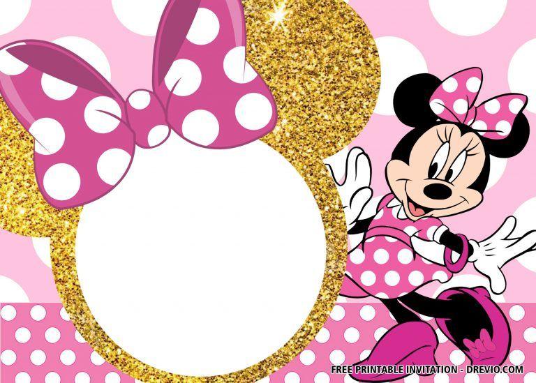 gold minnie mouse invitation templates
