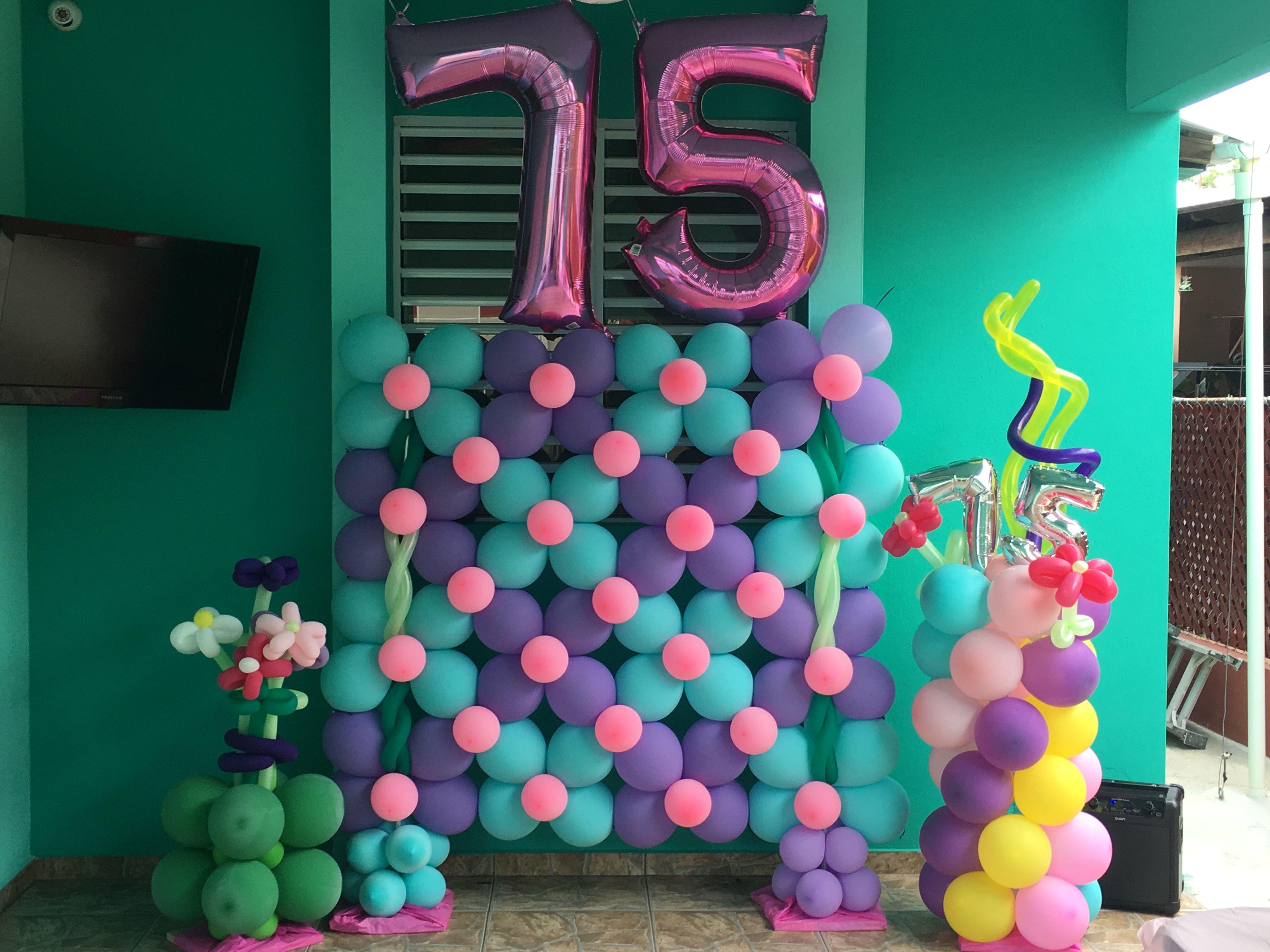 Wall Of Balloon 75th Birthday