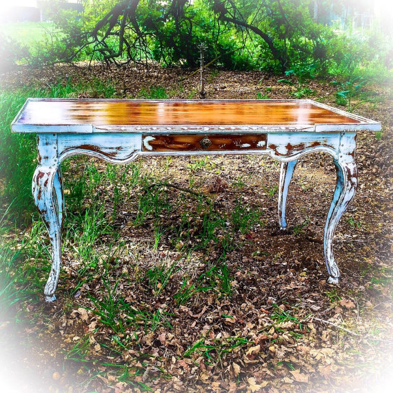 High Quality 5u0027 Long, Antique Desk, White, Entryway Table, Stained Wood, Shabby