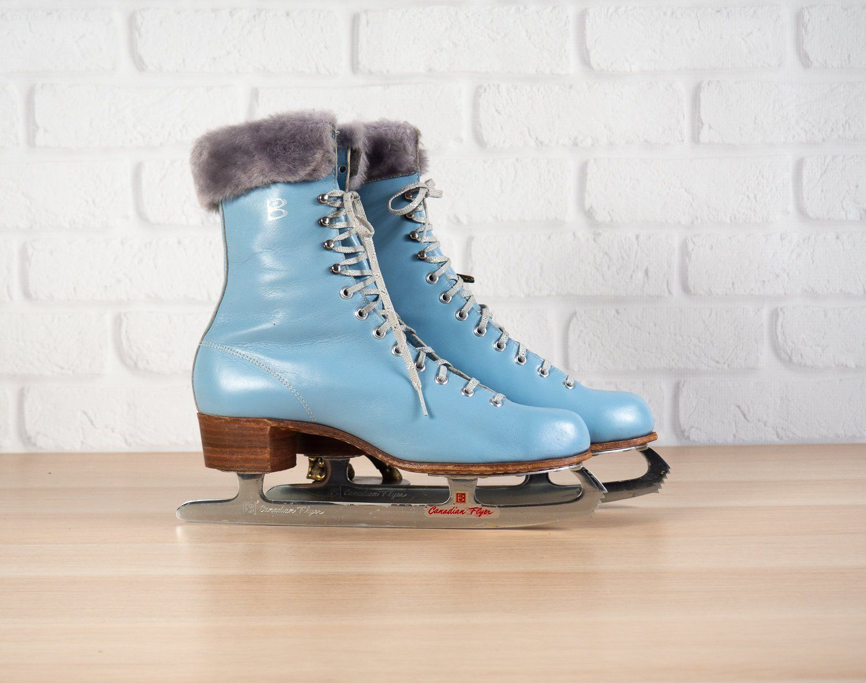 Princess Canadian Flyer Vintage Lady Figure Ice Skates Blue With Fur Trim Size 9 Blue Leather Boots Vintage Ladies Women Figure