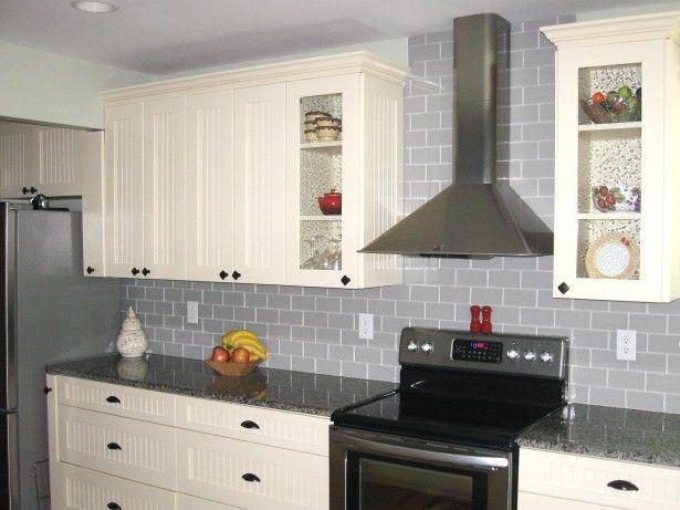 Kitchen Appealing Grey Glass Subway Tile Backsplash With Chrome Range Hood Al