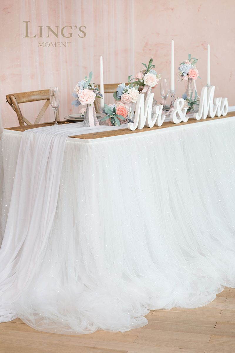 Extra Long Pooling Table Skirt 14 Styles Bridal Table Tulle