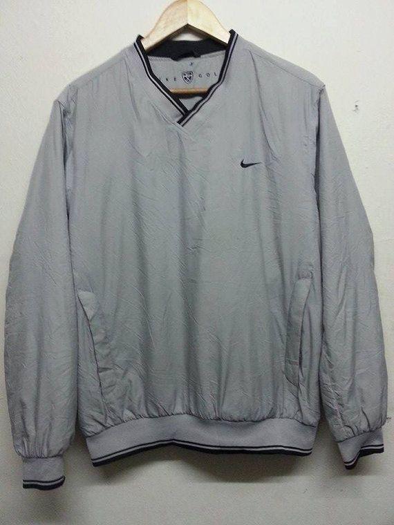 Sale Vintage 1990s Nike Golf Swoosh Style Jumper Sweater Casual Golf Bomber Grey Jacket Outerwear Jackets Gray Jacket Jackets