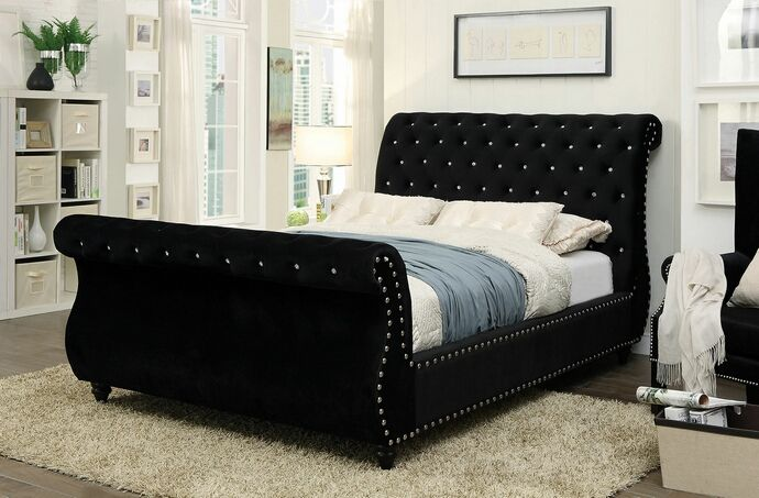 collection black padded fabric upholstered tufted sleigh queen bed frame set measures king size full