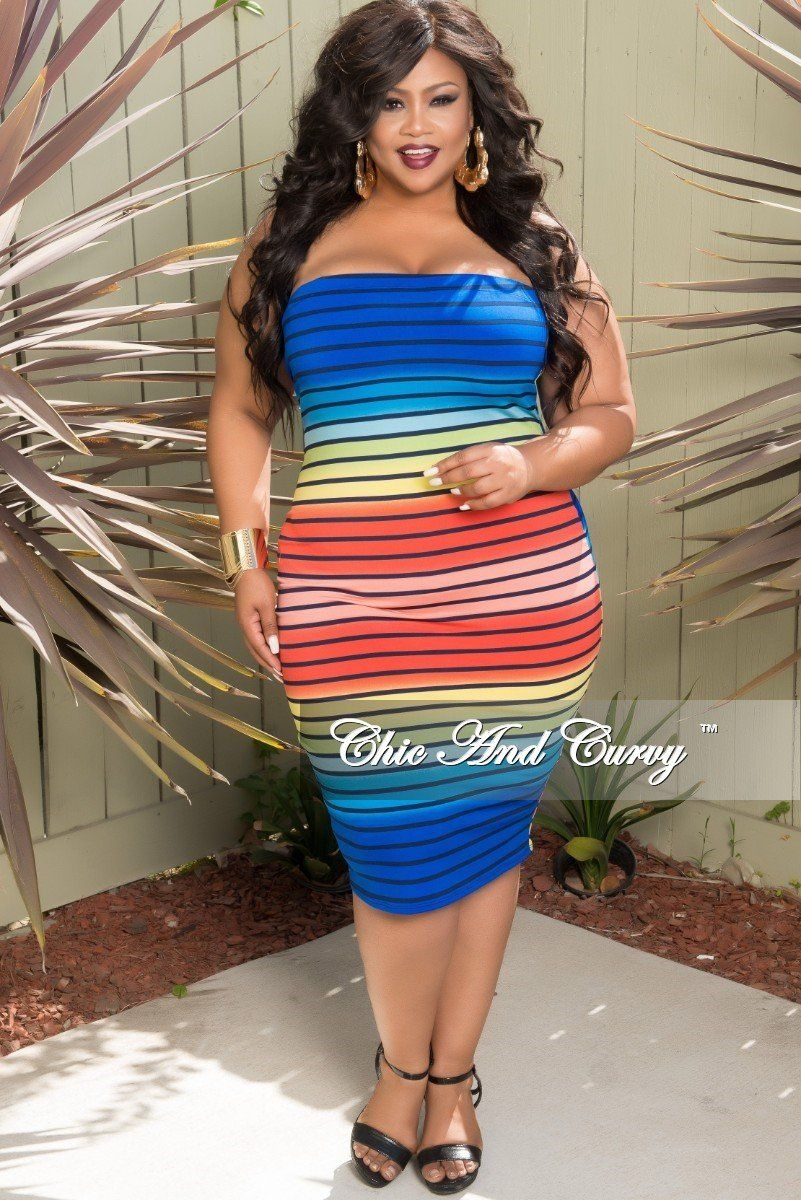 02743899553 Plus Size BodyCon Tube Dress in Striped Rainbow Print – Chic And Curvy