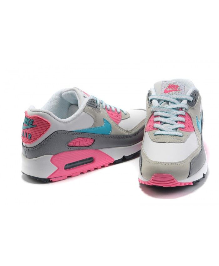 d0b7fde33d Nike Air Max 90 Hyperfuse Leather Light Grey Pink Mint Blue Womens Trainers  Cheap Online