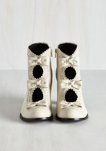 Powerful Protagonist Bootie in Ivory | Mod Retro Vintage Boots | ModCloth.com