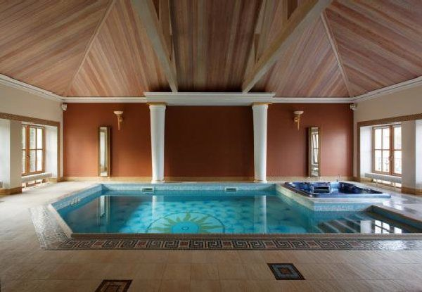 Small Indoor Swimming Pool Design With Wooden Roof
